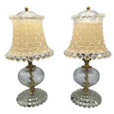 Pair of Mid Century Cut Glass Boudoir Nightstand Leviton Lamps