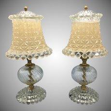 Pair of Vintage Mid Century Cut Glass Boudoir Nightstand Leviton Lamps