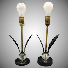 Pair of Mid Century Lamps with Black Metal Leaves Petals and Glass Balls