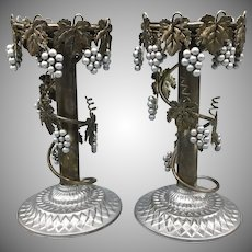 Pair of Vintage Metal Candleholders with Grape Vine Ornament