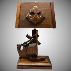 Vintage Wood Lamp Nautical Design with Carved Anchors, Boat and Chain