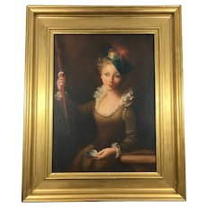 Antique Victorian Oil Portrait Painting of a Young Lady Circa 19th Century