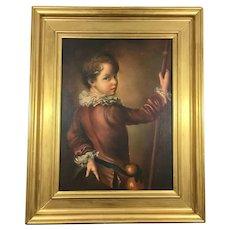 Antique Victorian Oil Portrait Painting of a Boy Circa 19th Century