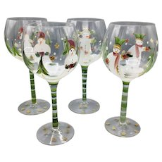 Set of 4 Vintage Hand Painted Christmas Holidays Wine Glasses with Snowmen