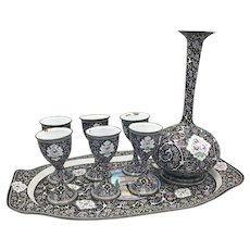 Antique Persian Hand Painted Enamel on Copper Set of 6 Goblets, Tray, Decanter