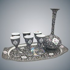 Antique Persian Hand Painted Isfahan Enamel on Copper Set of 6 Goblets, Tray, Decanter