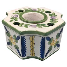 Early 20th Century Inkwell French Faience Porcelain Signed Aladin Paris