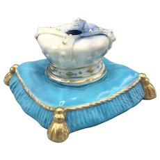 Early 20th Century Inkwell French Porcelain Inkwell Crown Shape