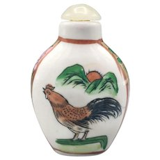 Antique Chinese Qing Snuff Bottle Hand Painted Porcelain with Rooster