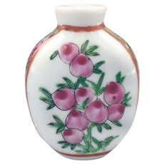 Antique Chinese Qing Snuff Bottle Hand Painted Porcelain with Pink Peonies