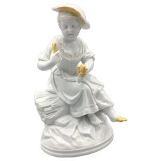Antique KPM While Glaze Porcelain Blanc de Chine Statue Figurine of an Eating Girl