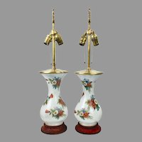 Pair of Hand Painted Florals Porcelain and Brass Lamps on Wooden Bases