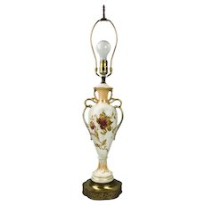 Antique French Hand Painted Porcelain Amphora Ormolu Lamp with Gold Gilt
