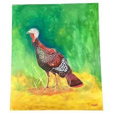 Original Painting of a Turkey Bird Signed Capps
