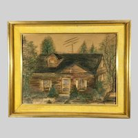 Original Pastel Painting of a House Signed Framed