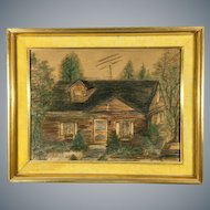 Original Pastel Painting of a House Signed Jeremiah