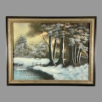Original Oil on Canvas Painting of a Winter Landscape