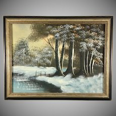 Original Small Oil Painting of a Winter Lanscape