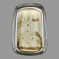Antique Glass Paperweight with Photograph Pennsylvania