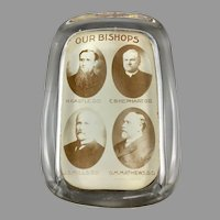 Antique Glass Paperweight with Photograph Pennsylvania Bishops