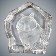 Mid-Century Etched Crystal Paperweight with Wolf