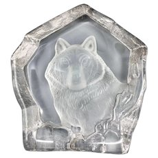 Etched Crystal Paperweight Wolf