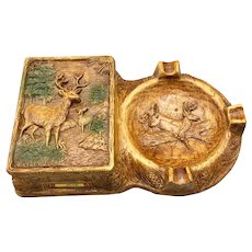 Vintage Carved Wooden Ashtray and Cigarette Box with Buck Deer circa 1940s