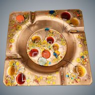 Large Copper Ashtray Hand Colored Enamel Mid-Century