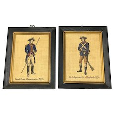 Pair of Vintage Prints on Burlap Revolutionary War Soldiers in Uniforms Maryland and Massachusetts