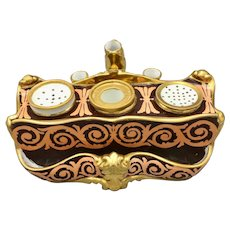 Antique French Porcelain Triple Inkwell and Pen Holder Gilded Hand Painted Napoleon Era
