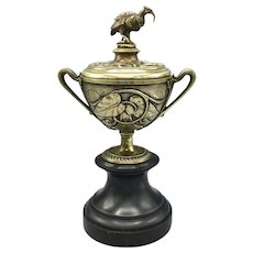 "Antique Brass and Marble Lidded Urn Garniture with Bird Figure 11.5"" Height"