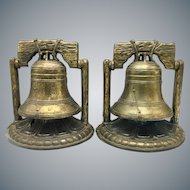 Vintage Cast Metal Liberty Bell Bookends