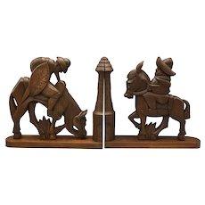 Vintage Don Quixote and Sancho Panza Wooden Bookends
