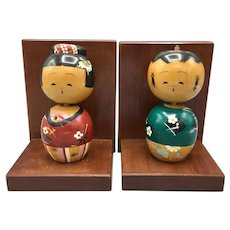 Vintage Japanese Kokeshi Bookends Wooden Hand Painted