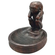 Vintage Carved Wood Monkey Ashtray or Trinket Dish