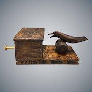 Mid Century Carved Wooden Cigarette Box and Mechanic Bird Dispenser