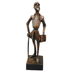 Vintage Don Quixote Carved Hardwood Statue