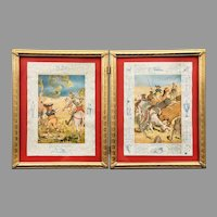 Don Quixote Vintage Lithograph Illustrations Framed in Brass circa 1927