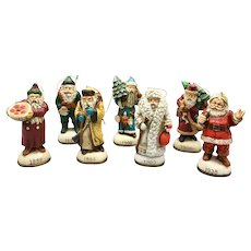 Vintage Set of 7 Santa Ornaments from Memories of Santa Series