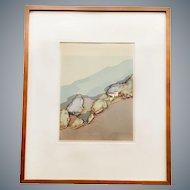 Barbara Romney Multimedia Artwork Print 'Coast Near Lucia' Signed and Numbered 2/30