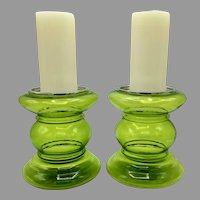 Pair of Mid-Century Green Glass Candleholders