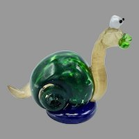 Art Glass Sculpture of Snail Made of 6 Types of Hand Blown Glass