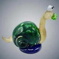Hand Blown Art Glass Sculpture of Snail Made of 6 Types of Glass