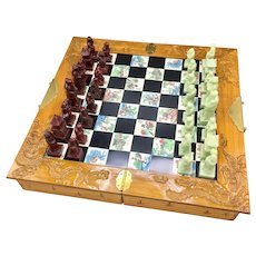 Vintage Chinese Set of Chess Carved Wood and Inlaid Tile Board