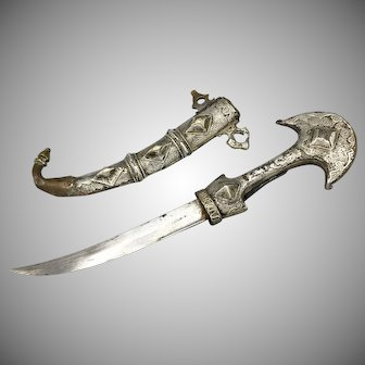 Early 19th Century North African Arab Moroccan Dagger Koumiyya Mounted in Silver