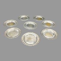 Mid-Century Set of 8 Pan Am Silverplate Coasters Made in Sweden circa 1960s