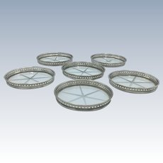 Vintage Set of 6 Coasters Etched Glass Sterling Silver