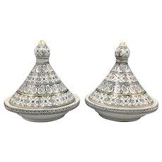 "Vintage Pair of Artisan 8"" Tajine Pots Glazed Ceramic North African Moroccan Tunisian"