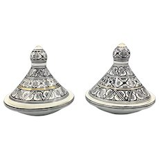 "Vintage Pair of Artisan 5"" Mini Tajine Pots Glazed Ceramic North African Moroccan Tunisian"