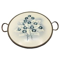 Mid Century Glazed Ceramic Tray with Painted Cherry Branches